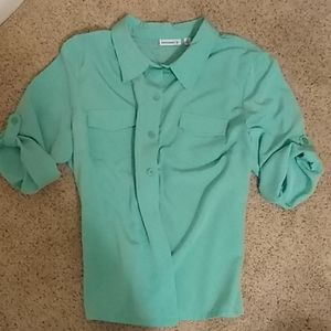 Teal, 3/4 sleeve, button down shirt